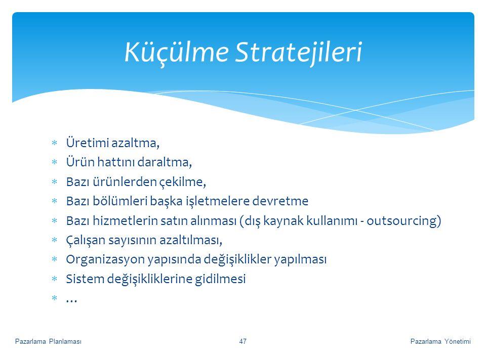  Üretimi azaltma,  Ürün hattını daraltma,  Bazı ürünlerden çekilme,  Bazı bölümleri başka işletmelere devretme  Bazı hizmetlerin satın alınması (