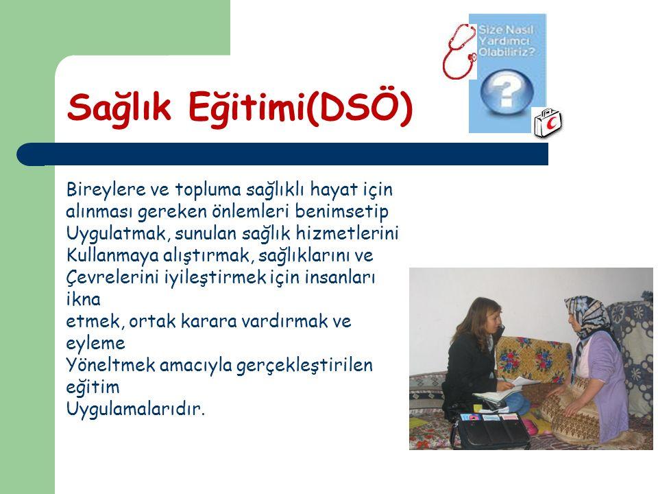 Sağlık Eğitimi(DSÖ) Bireylere ve topluma sağlıklı hayat için alınması gereken önlemleri benimsetip Uygulatmak, sunulan sağlık hizmetlerini Kullanmaya