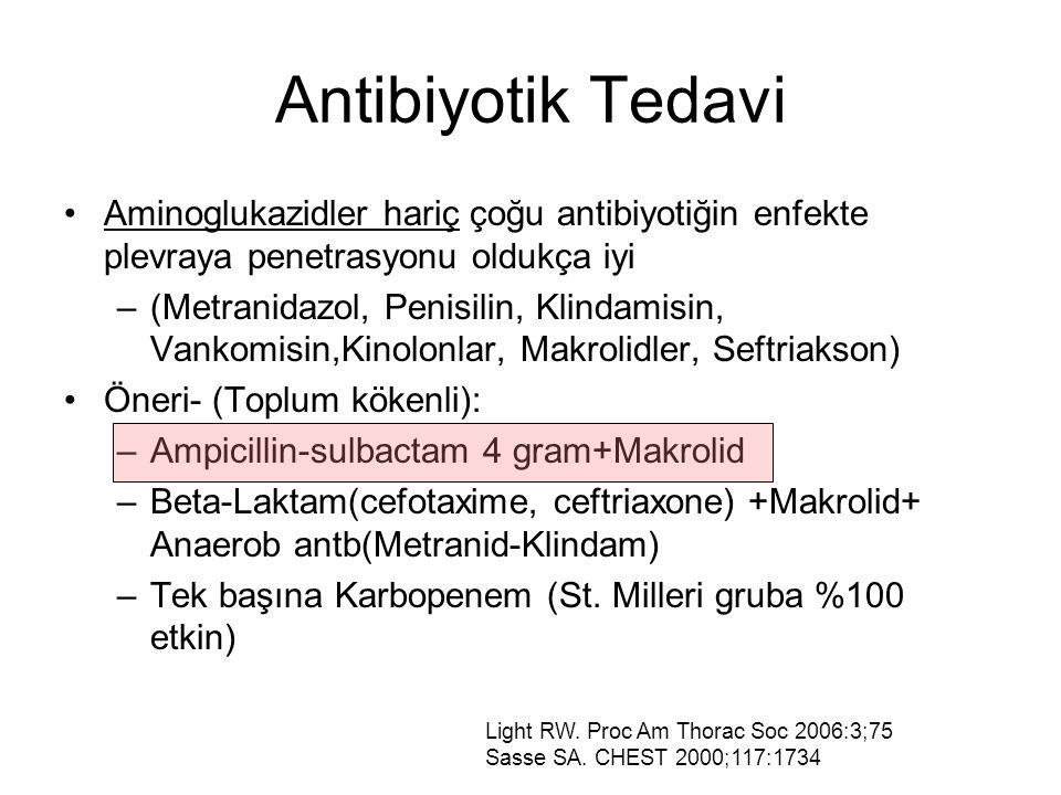 Antibiyotik Tedavi Aminoglukazidler hariç çoğu antibiyotiğin enfekte plevraya penetrasyonu oldukça iyi –(Metranidazol, Penisilin, Klindamisin, Vankomisin,Kinolonlar, Makrolidler, Seftriakson) Öneri- (Toplum kökenli): –Ampicillin-sulbactam 4 gram+Makrolid –Beta-Laktam(cefotaxime, ceftriaxone) +Makrolid+ Anaerob antb(Metranid-Klindam) –Tek başına Karbopenem (St.