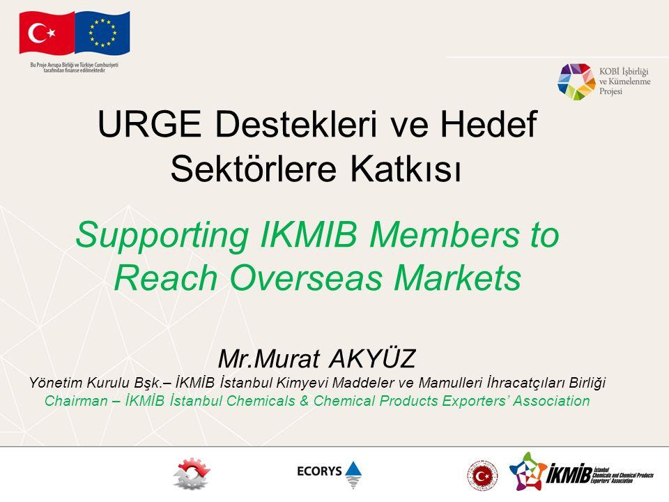 URGE Destekleri ve Hedef Sektörlere Katkısı Supporting IKMIB Members to Reach Overseas Markets Mr.Murat AKYÜZ Yönetim Kurulu Bşk.– İKMİB İstanbul Kimy