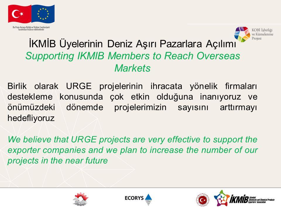 İKMİB Üyelerinin Deniz Aşırı Pazarlara Açılımı Supporting IKMIB Members to Reach Overseas Markets Birlik olarak URGE projelerinin ihracata yönelik fir