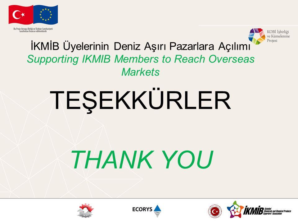 İKMİB Üyelerinin Deniz Aşırı Pazarlara Açılımı Supporting IKMIB Members to Reach Overseas Markets TEŞEKKÜRLER THANK YOU