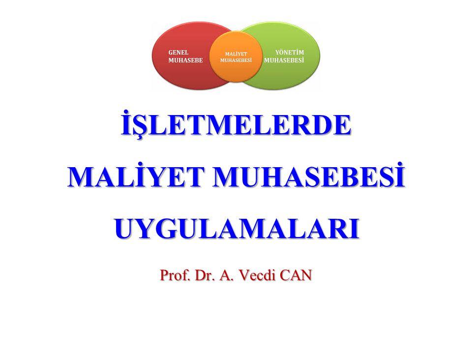 İŞLETMELERDE MALİYET MUHASEBESİ UYGULAMALARI Prof. Dr. A. Vecdi CAN