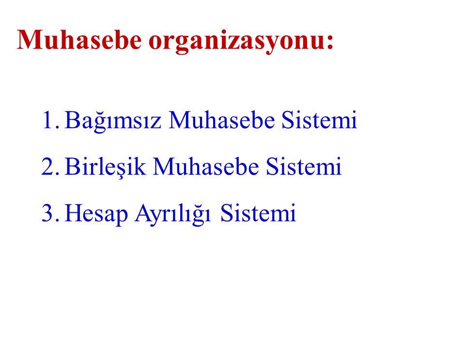 Muhasebe organizasyonu: 1.Bağımsız Muhasebe Sistemi 2.Birleşik Muhasebe Sistemi 3.Hesap Ayrılığı Sistemi