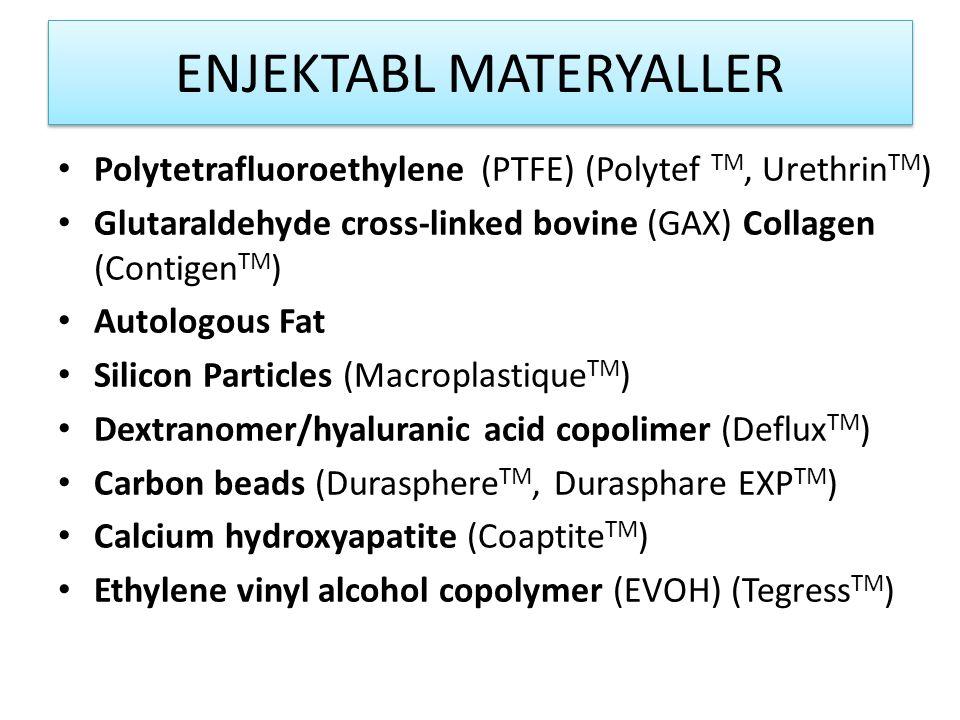 ENJEKTABL MATERYALLER Polytetrafluoroethylene (PTFE) (Polytef TM, Urethrin TM ) Glutaraldehyde cross-linked bovine (GAX) Collagen (Contigen TM ) Autologous Fat Silicon Particles (Macroplastique TM ) Dextranomer/hyaluranic acid copolimer (Deflux TM ) Carbon beads (Durasphere TM, Durasphare EXP TM ) Calcium hydroxyapatite (Coaptite TM ) Ethylene vinyl alcohol copolymer (EVOH) (Tegress TM )