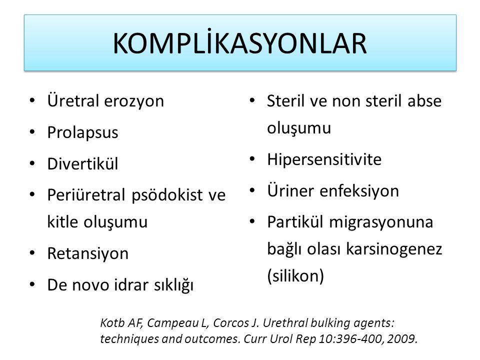 KOMPLİKASYONLAR Üretral erozyon Prolapsus Divertikül Periüretral psödokist ve kitle oluşumu Retansiyon De novo idrar sıklığı Steril ve non steril abse oluşumu Hipersensitivite Üriner enfeksiyon Partikül migrasyonuna bağlı olası karsinogenez (silikon) Kotb AF, Campeau L, Corcos J.