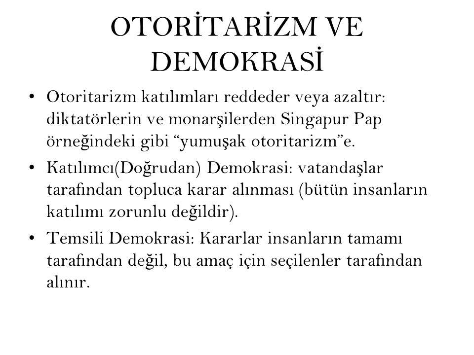 OTOR İ TAR İ ZM VE DEMOKRAS İ Otoritarizm katılımları reddeder veya azaltır: diktatörlerin ve monar ş ilerden Singapur Pap örne ğ indeki gibi yumu ş ak otoritarizm e.