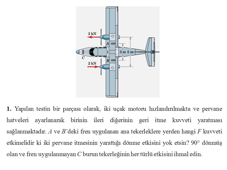 1. Yapılan testin bir parçası olarak, iki uçak motoru hızlandırılmakta ve pervane hatveleri ayarlanarak birinin ileri diğerinin geri itme kuvveti yara