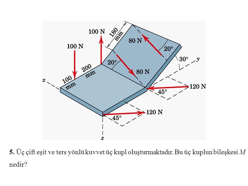 5. Üç çift eşit ve ters yönlü kuvvet üç kupl oluşturmaktadır. Bu üç kuplun bileşkesi M nedir?
