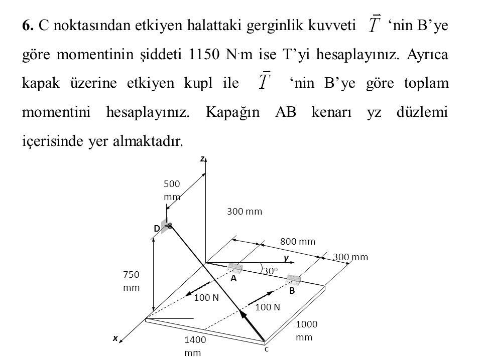 6.C noktasından etkiyen halattaki gerginlik kuvveti 'nin B'ye göre momentinin şiddeti 1150 N.