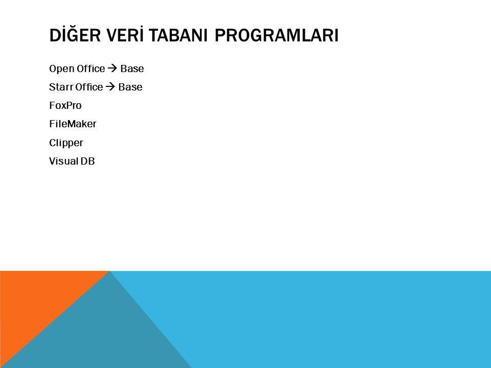 DİĞER VERİ TABANI PROGRAMLARI Open Office  Base Starr Office  Base FoxPro FileMaker Clipper Visual DB