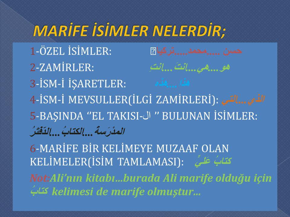  1-ÖZEL İSİMLER: — حسن.....محمد..... تركيا  2-ZAMİRLER: هو....