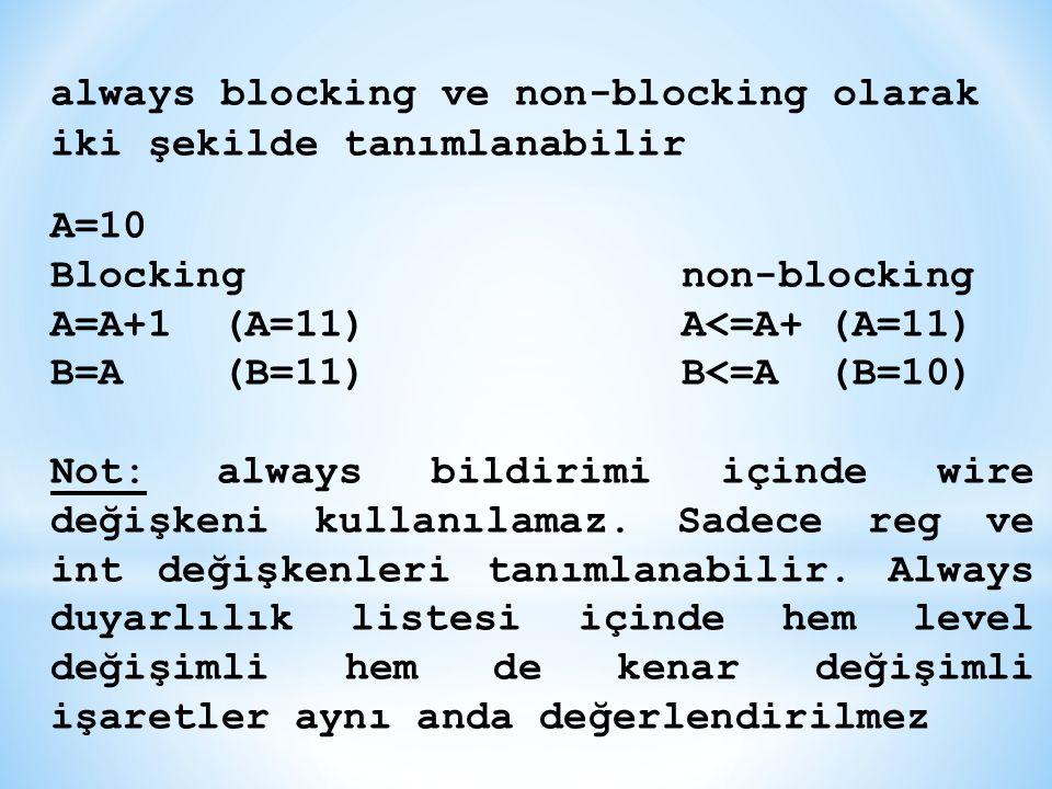 always blocking ve non-blocking olarak iki şekilde tanımlanabilir A=10 Blocking non-blocking A=A+1 (A=11)A<=A+ (A=11) B=A (B=11)B<=A (B=10) Not: alway