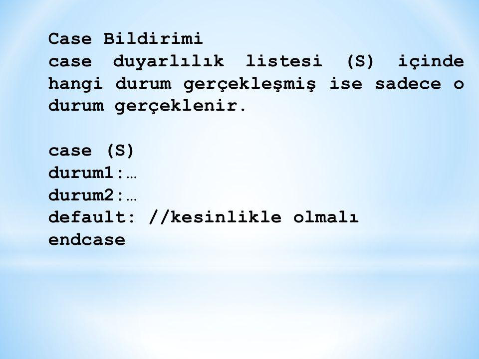 Case Bildirimi case duyarlılık listesi (S) içinde hangi durum gerçekleşmiş ise sadece o durum gerçeklenir. case (S) durum1:… durum2:… default: //kesin