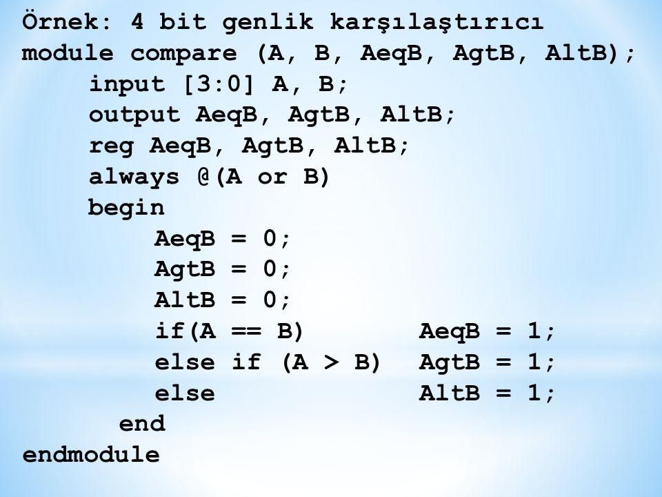 Örnek: 4 bit genlik karşılaştırıcı module compare (A, B, AeqB, AgtB, AltB); input [3:0] A, B; output AeqB, AgtB, AltB; reg AeqB, AgtB, AltB; always @(