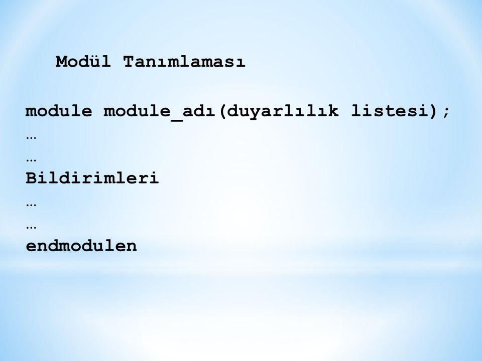 module module_adı(duyarlılık listesi); … Bildirimleri … endmodulen Modül Tanımlaması