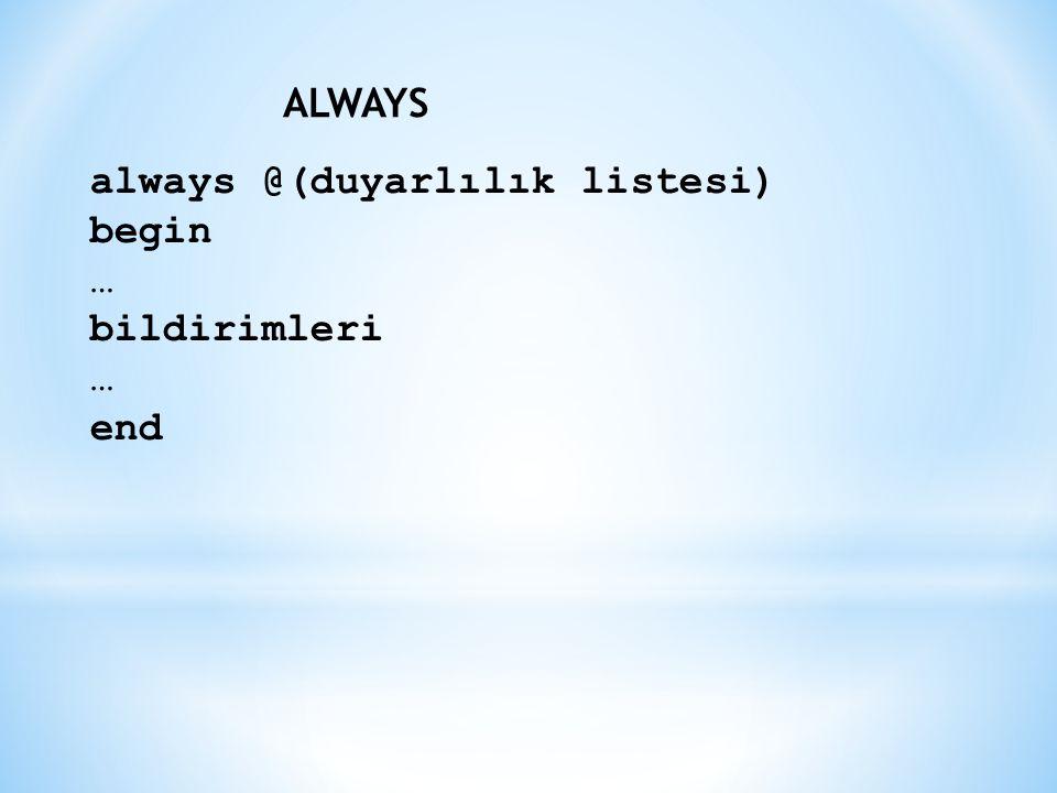 always @(duyarlılık listesi) begin … bildirimleri … end ALWAYS