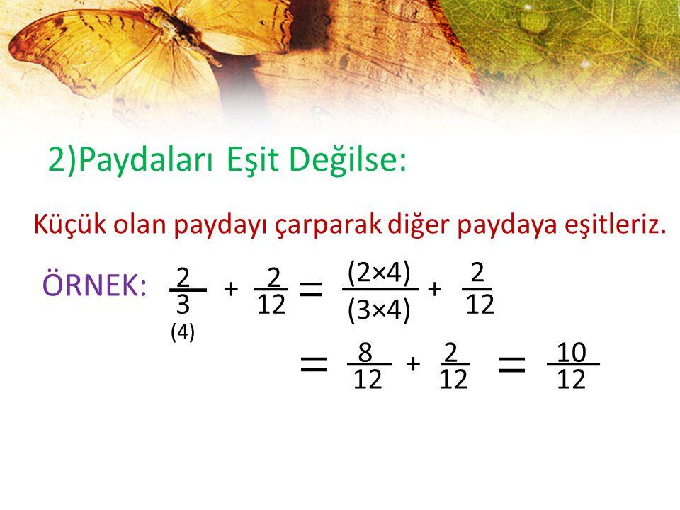 2)Paydaları Eşit Değilse: Küçük olan paydayı çarparak diğer paydaya eşitleriz. ÖRNEK: 2 3 + 2 12 (2×4) (3×4) + 2 12 8 + 2 10 12 (4)