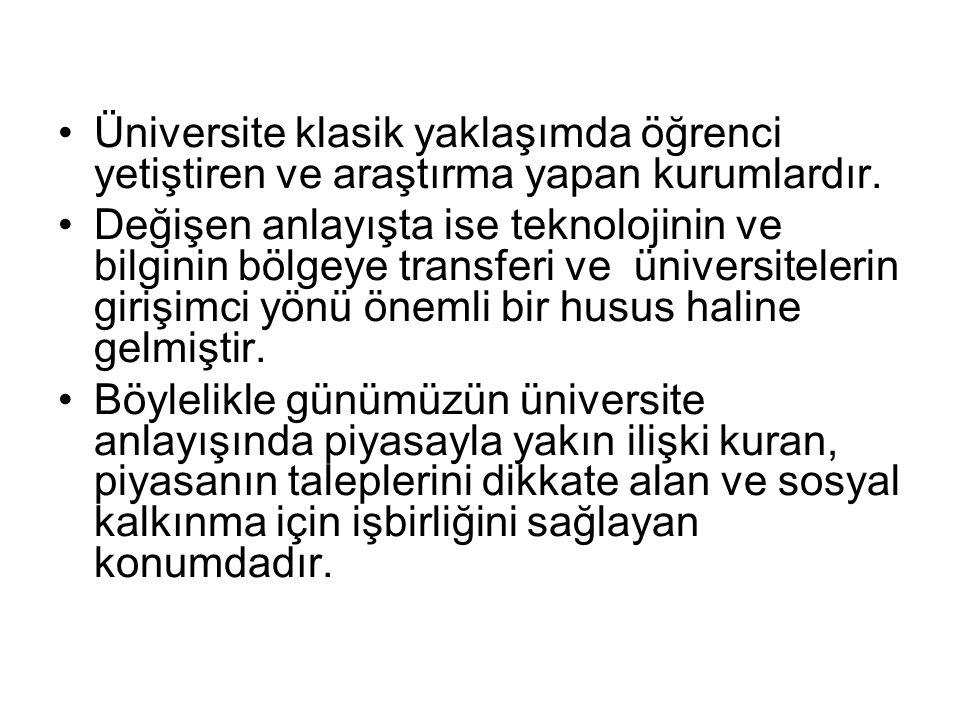 Üniversite klasik yaklaşımda öğrenci yetiştiren ve araştırma yapan kurumlardır.