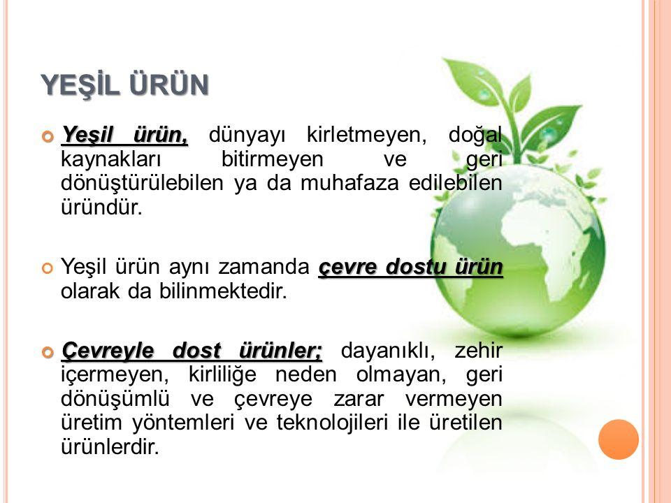 YEŞİL ÜRÜN Yeşil ürün, Yeşil ürün, dünyayı kirletmeyen, doğal kaynakları bitirmeyen ve geri dönüştürülebilen ya da muhafaza edilebilen üründür.