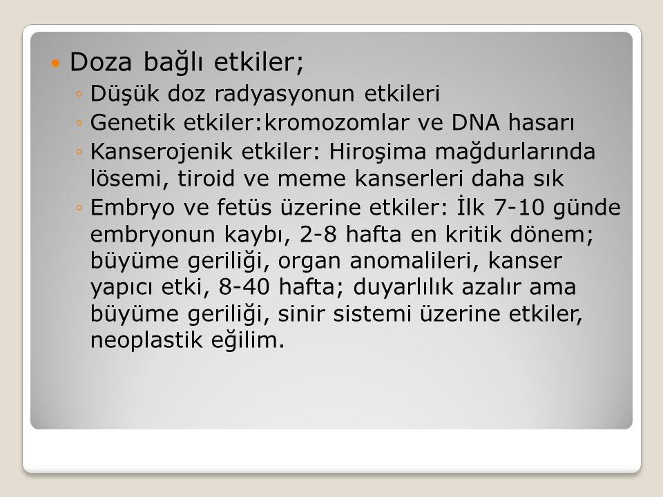 Doza bağlı etkiler; ◦Düşük doz radyasyonun etkileri ◦Genetik etkiler:kromozomlar ve DNA hasarı ◦Kanserojenik etkiler: Hiroşima mağdurlarında lösemi, t