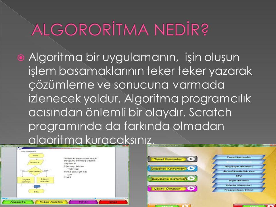  Algoritma bir uygulamanın, işin oluşun işlem basamaklarının teker teker yazarak çözümleme ve sonucuna varmada izlenecek yoldur.
