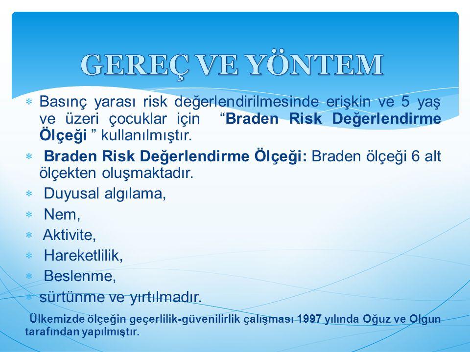 """ Basınç yarası risk değerlendirilmesinde erişkin ve 5 yaş ve üzeri çocuklar için """"Braden Risk Değerlendirme Ölçeği """" kullanılmıştır.  Braden Risk De"""