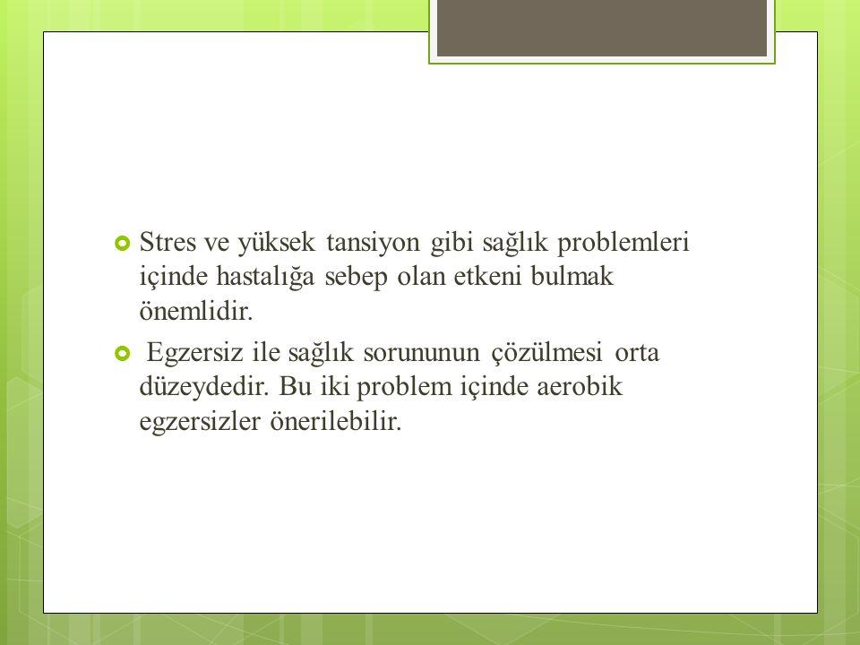  Stres ve yüksek tansiyon gibi sağlık problemleri içinde hastalığa sebep olan etkeni bulmak önemlidir.  Egzersiz ile sağlık sorununun çözülmesi orta