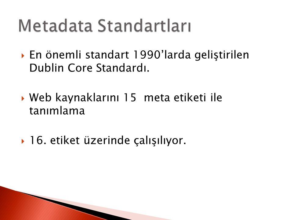  En önemli standart 1990'larda geliştirilen Dublin Core Standardı.  Web kaynaklarını 15 meta etiketi ile tanımlama  16. etiket üzerinde çalışılıyor