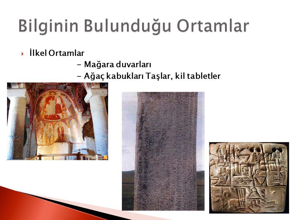  İlkel Ortamlar - Mağara duvarları - Ağaç kabukları Taşlar, kil tabletler