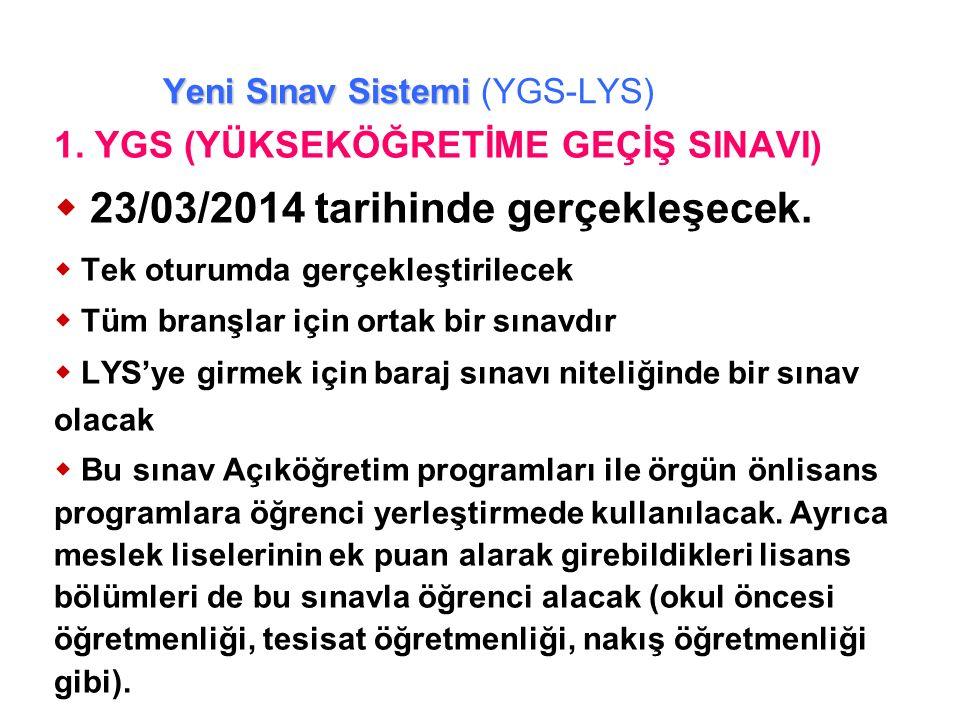 LYS'de Puanlar TM-2 YGSLYS-1LYS-3 Türkçe Temel Matemati k SosyalFen Matemati k Geometri Türk D.