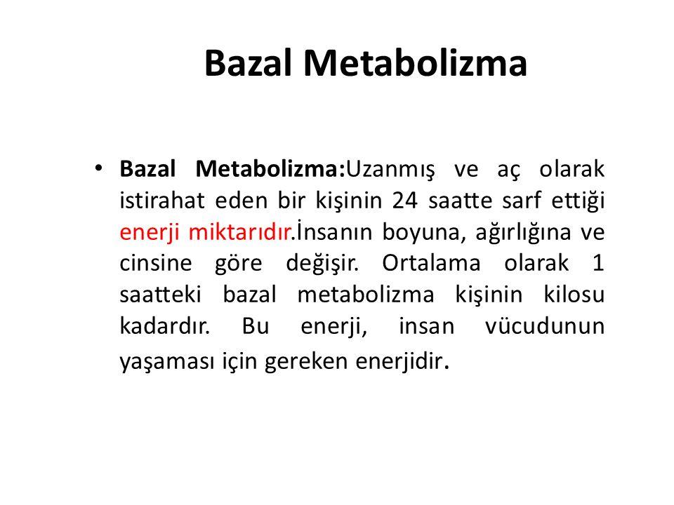 Bazal Metabolizma Bazal Metabolizma:Uzanmış ve aç olarak istirahat eden bir kişinin 24 saatte sarf ettiği enerji miktarıdır.İnsanın boyuna, ağırlığına