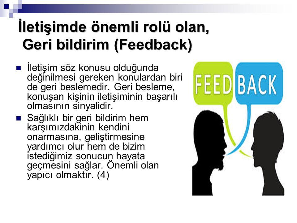 İletişimde önemli rolü olan, Geri bildirim (Feedback) İletişim söz konusu olduğunda değinilmesi gereken konulardan biri de geri beslemedir. Geri besle