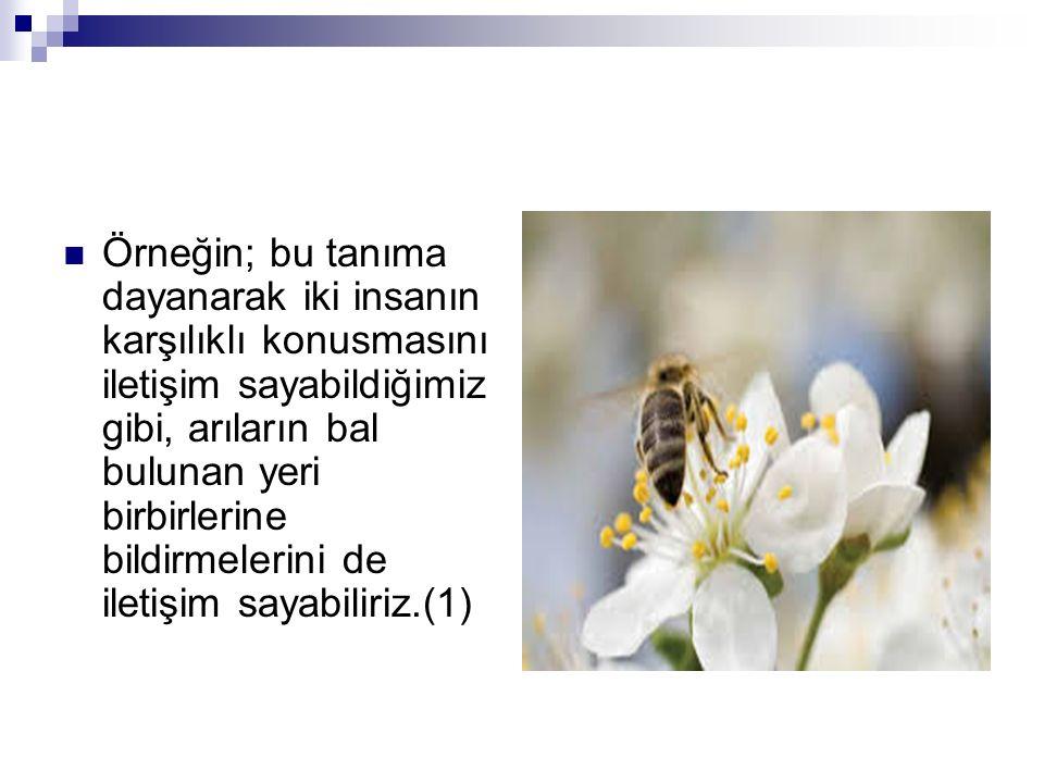 Örneğin; bu tanıma dayanarak iki insanın karşılıklı konusmasını iletişim sayabildiğimiz gibi, arıların bal bulunan yeri birbirlerine bildirmelerini de