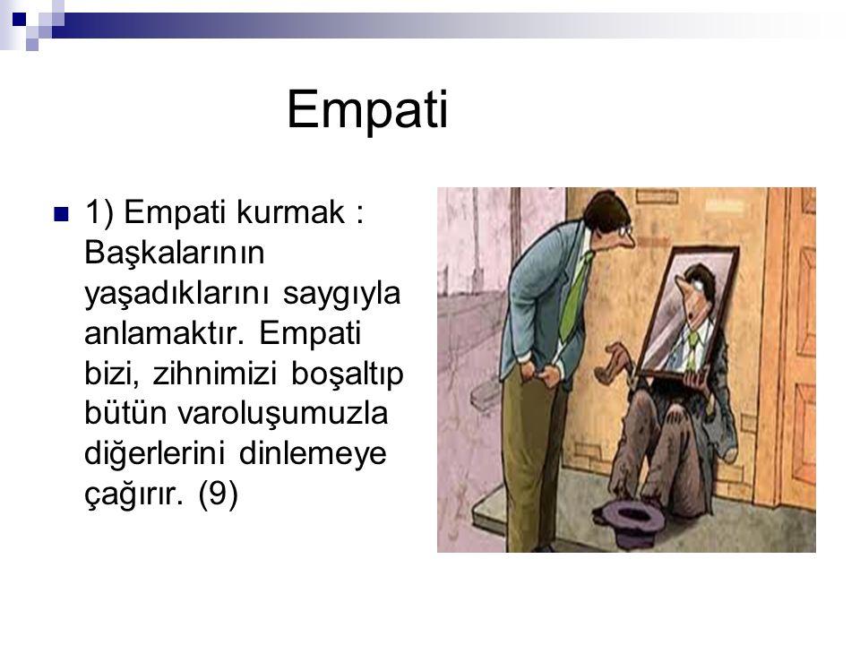 Empati 1) Empati kurmak : Başkalarının yaşadıklarını saygıyla anlamaktır. Empati bizi, zihnimizi boşaltıp bütün varoluşumuzla diğerlerini dinlemeye ça