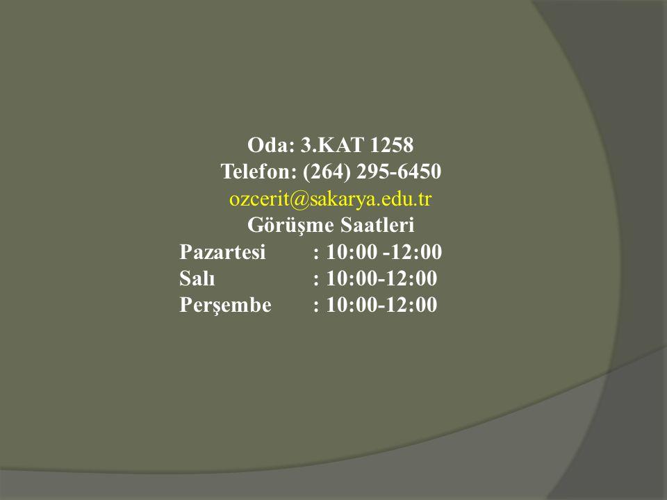 Oda: 3.KAT 1258 Telefon: (264) 295-6450 ozcerit@sakarya.edu.tr Görüşme Saatleri Pazartesi: 10:00 -12:00 Salı: 10:00-12:00 Perşembe: 10:00-12:00