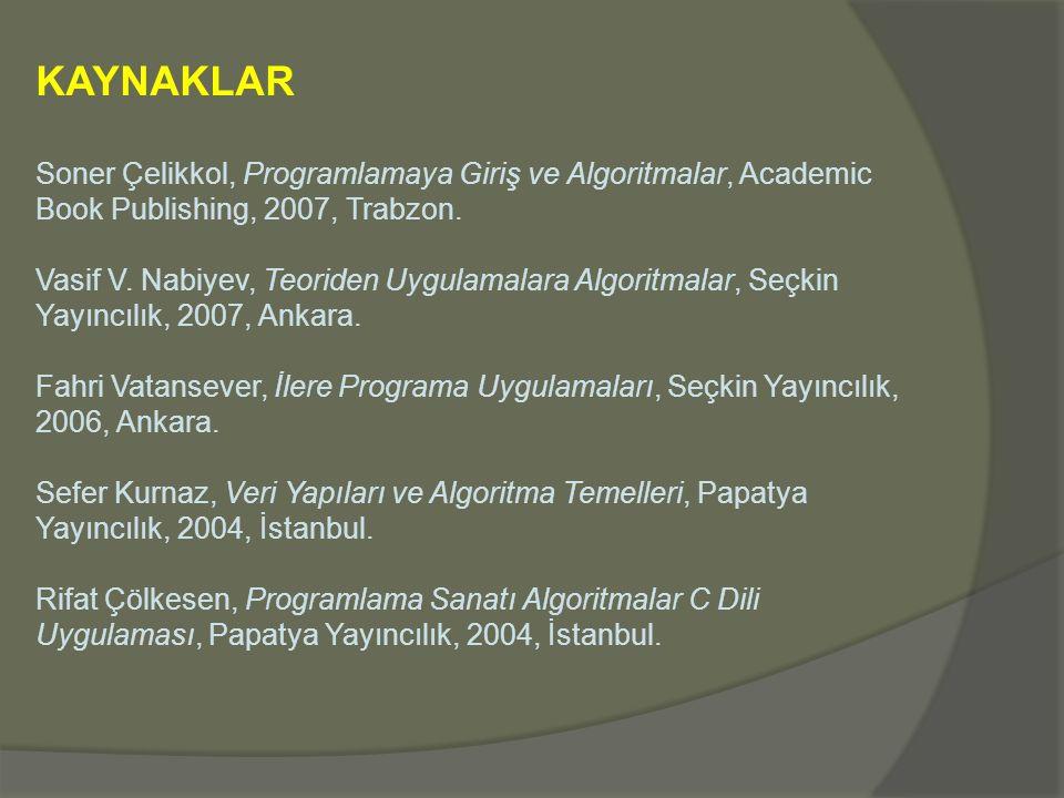 KAYNAKLAR Soner Çelikkol, Programlamaya Giriş ve Algoritmalar, Academic Book Publishing, 2007, Trabzon. Vasif V. Nabiyev, Teoriden Uygulamalara Algori