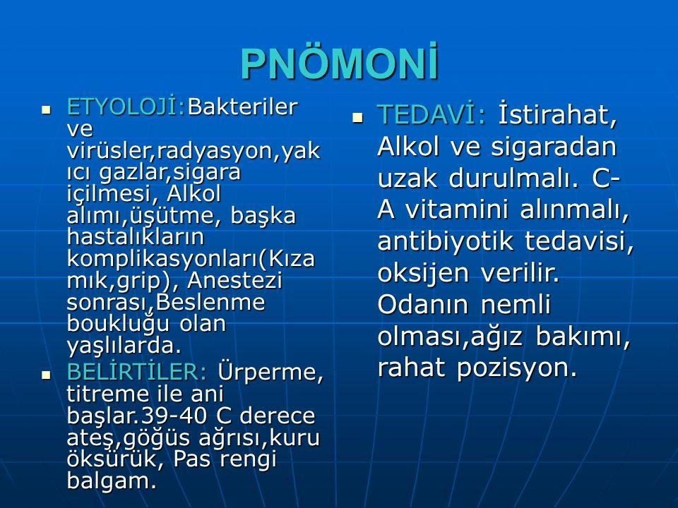 PNÖMONİ ETYOLOJİ:Bakteriler ve virüsler,radyasyon,yak ıcı gazlar,sigara içilmesi, Alkol alımı,üşütme, başka hastalıkların komplikasyonları(Kıza mık,gr