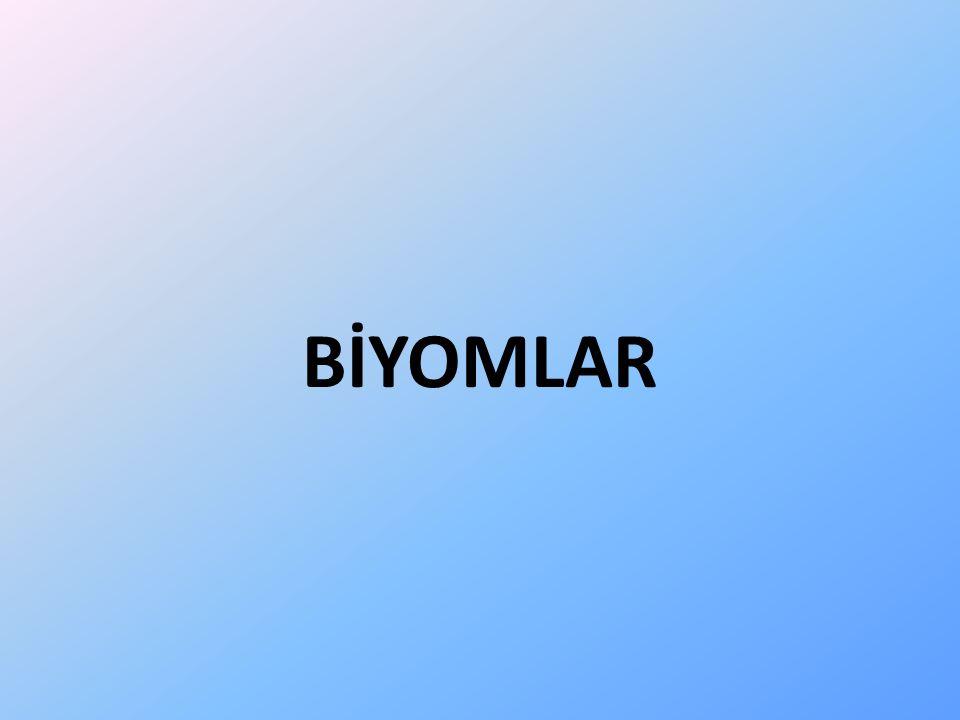 Biyomlar Biyom, biyosferin aynı iklim koşullarında ve aynı bitki örtüsünün egemen olduğu çok geniş bölümlerini belirten çevrebilim terimidir.
