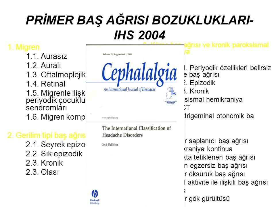 PRİMER BAŞ AĞRISI BOZUKLUKLARI- IHS 2004 1. Migren 1.1. Aurasız 1.2. Auralı 1.3. Oftalmoplejik 1.4. Retinal 1.5. Migrenle ilişkili olabilecek periyodi