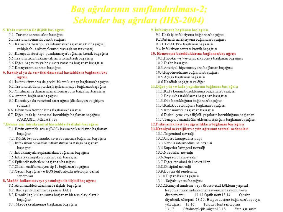 Baş ağrılarının sınıflandırılması-2; Sekonder baş ağrıları (IHS-2004) 5.