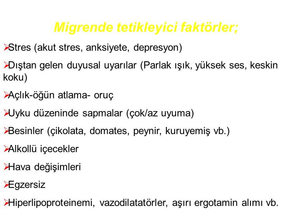 Migrende tetikleyici faktörler;  Stres (akut stres, anksiyete, depresyon)  Dıştan gelen duyusal uyarılar (Parlak ışık, yüksek ses, keskin koku)  Aç