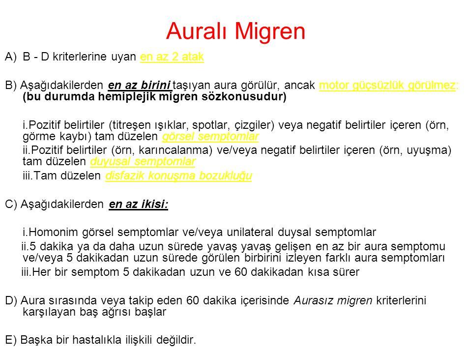 Auralı Migren A)B - D kriterlerine uyan en az 2 atak B) Aşağıdakilerden en az birini taşıyan aura görülür, ancak motor güçsüzlük görülmez: (bu durumda
