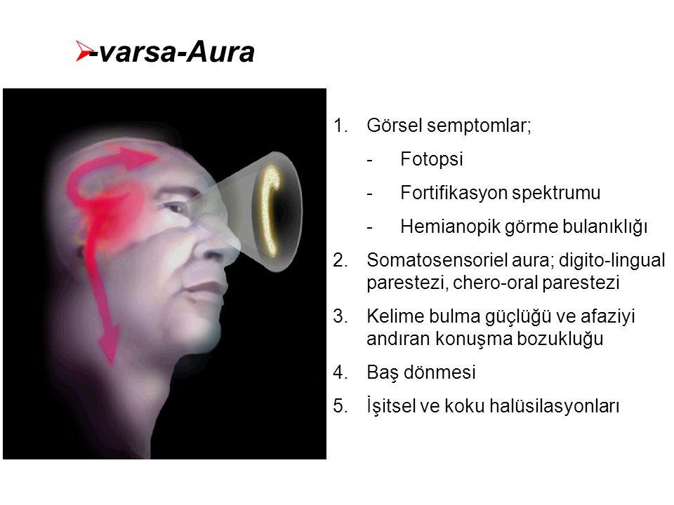  -varsa-Aura 1.Görsel semptomlar; -Fotopsi -Fortifikasyon spektrumu -Hemianopik görme bulanıklığı 2.Somatosensoriel aura; digito-lingual parestezi, c