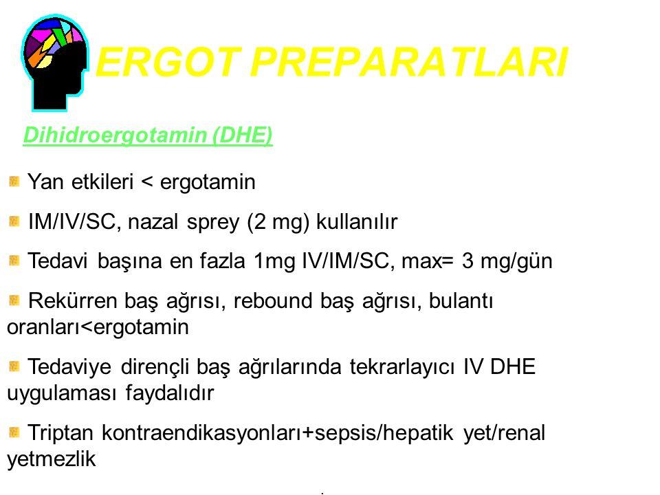 ERGOT PREPARATLARI Dihidroergotamin (DHE) Yan etkileri < ergotamin IM/IV/SC, nazal sprey (2 mg) kullanılır Tedavi başına en fazla 1mg IV/IM/SC, max= 3