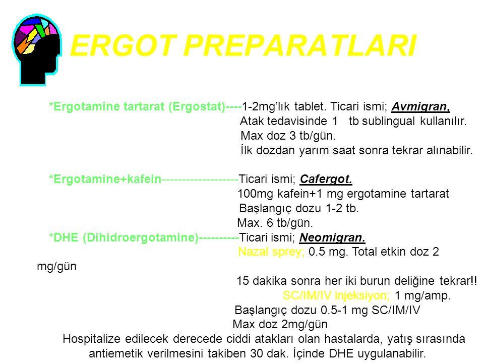 ERGOT PREPARATLARI *Ergotamine tartarat (Ergostat)----1-2mg'lık tablet. Ticari ismi; Avmigran, Atak tedavisinde 1 tb sublingual kullanılır. Max doz 3