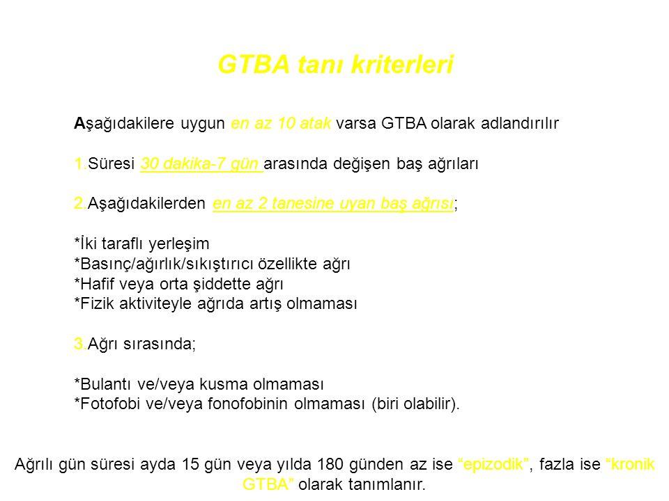 GTBA tanı kriterleri Aşağıdakilere uygun en az 10 atak varsa GTBA olarak adlandırılır 1.Süresi 30 dakika-7 gün arasında değişen baş ağrıları 2.Aşağıda