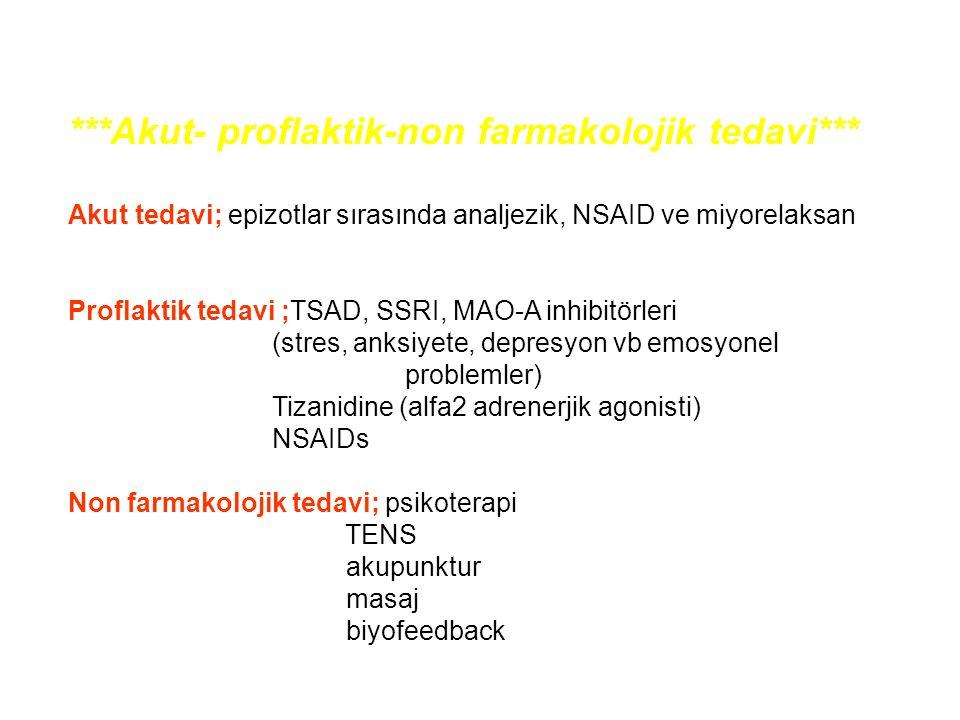 ***Akut- proflaktik-non farmakolojik tedavi*** Akut tedavi; epizotlar sırasında analjezik, NSAID ve miyorelaksan Proflaktik tedavi ;TSAD, SSRI, MAO-A inhibitörleri (stres, anksiyete, depresyon vb emosyonel problemler) Tizanidine (alfa2 adrenerjik agonisti) NSAIDs Non farmakolojik tedavi; psikoterapi TENS akupunktur masaj biyofeedback