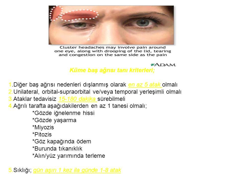 Küme baş ağrısı tanı kriterleri; 1.Diğer baş ağrısı nedenleri dışlanmış olarak en az 5 atak olmalı 2.Unilateral, orbital-supraorbital ve/veya temporal yerleşimli olmalı 3.Ataklar tedavisiz 15-180 dakika sürebilmeli 4.Ağrılı tarafta aşağıdakilerden en az 1 tanesi olmalı; *Gözde iğnelenme hissi *Gözde yaşarma *Miyozis *Pitozis *Göz kapağında ödem *Burunda tıkanıklık *Alın/yüz yarımında terleme 5.Sıklığı; gün aşırı 1 kez ila günde 1-8 atak