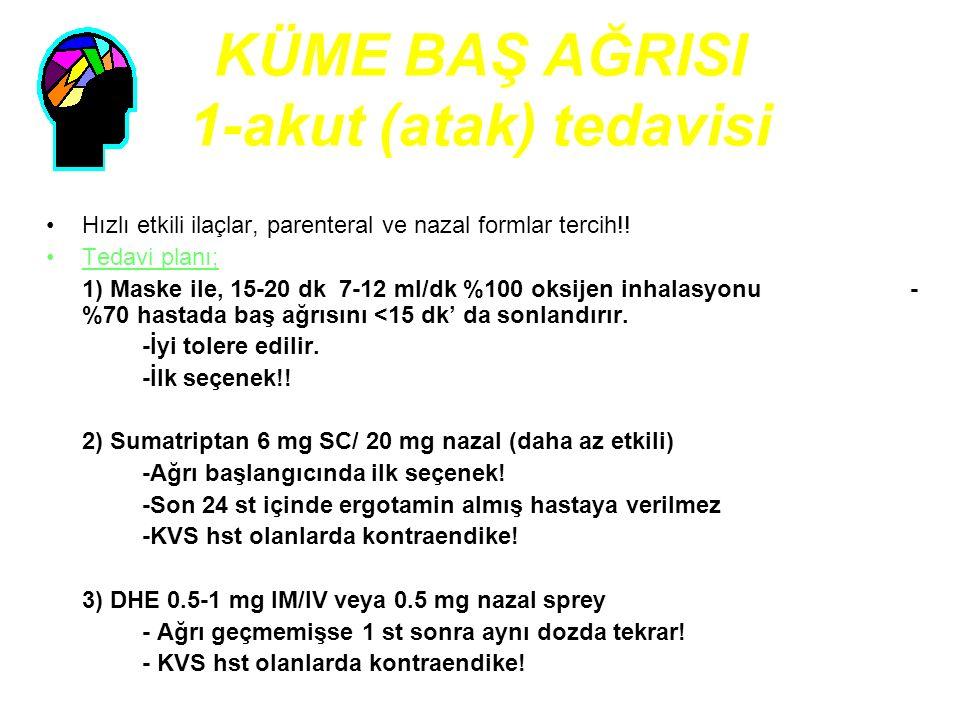 KÜME BAŞ AĞRISI 1-akut (atak) tedavisi Hızlı etkili ilaçlar, parenteral ve nazal formlar tercih!! Tedavi planı; 1) Maske ile, 15-20 dk 7-12 ml/dk %100